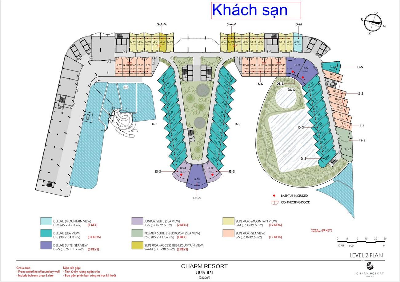 Mặt bằng khách sạn dự án Condotel & Biệt thự Charm Resort Long Hải chủ đầu tư Charm Group