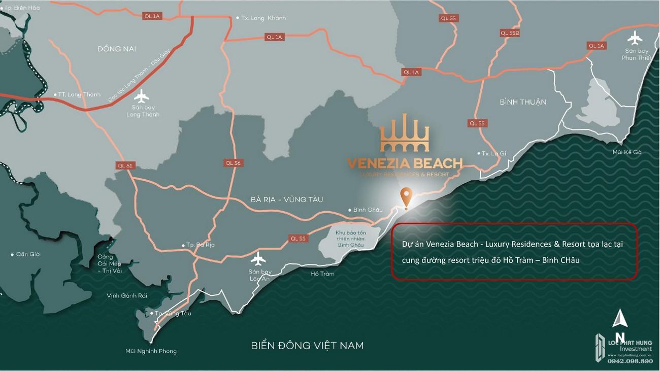 Vị trí chính xác dự án Venezia Beach Luxury Residences & Resort
