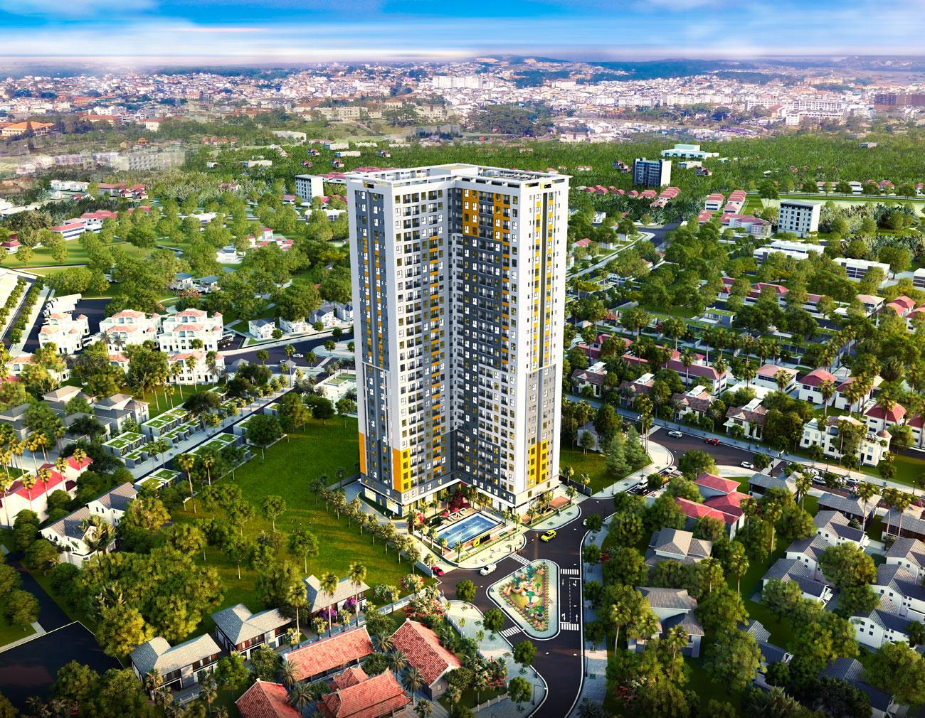Phối cảng tổng dự án căn hộ chung cư Bcons Sala Dĩ An Bình Dương