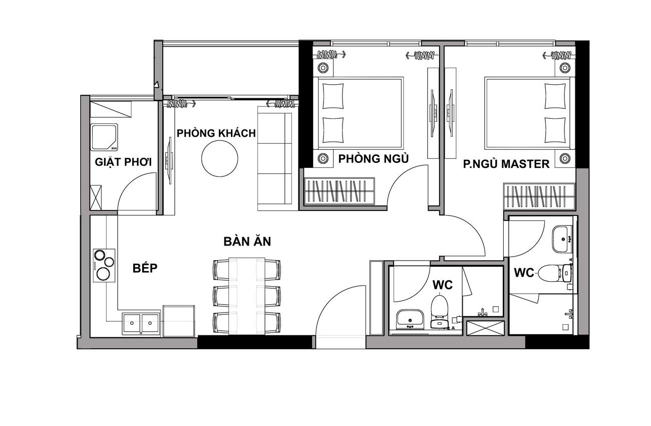 Thiết kế căn hộ 2 Phòng ngủ The Rivana Thuận An Đường Quốc lộ 13 chủ đầu tư Đạt Phước