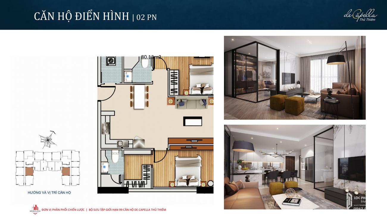 Thiết kế căn hộ 2PN dự án De Capella Quận 2