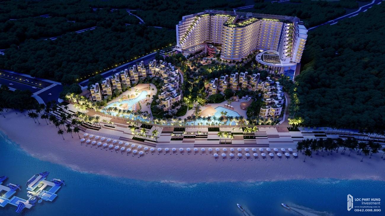 Phối cảnh tổng thể ban đêm của dự án Condotel & Biệt thự Charm Resort Long Hải