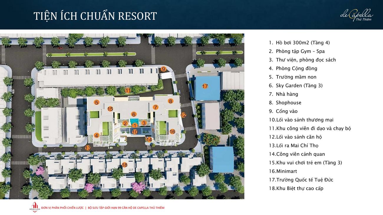 Tiện ích dự án căn hộ De Capella Quận 2 Đường Lương Định Của chủ đầu tư Quốc Cường Gia Lai