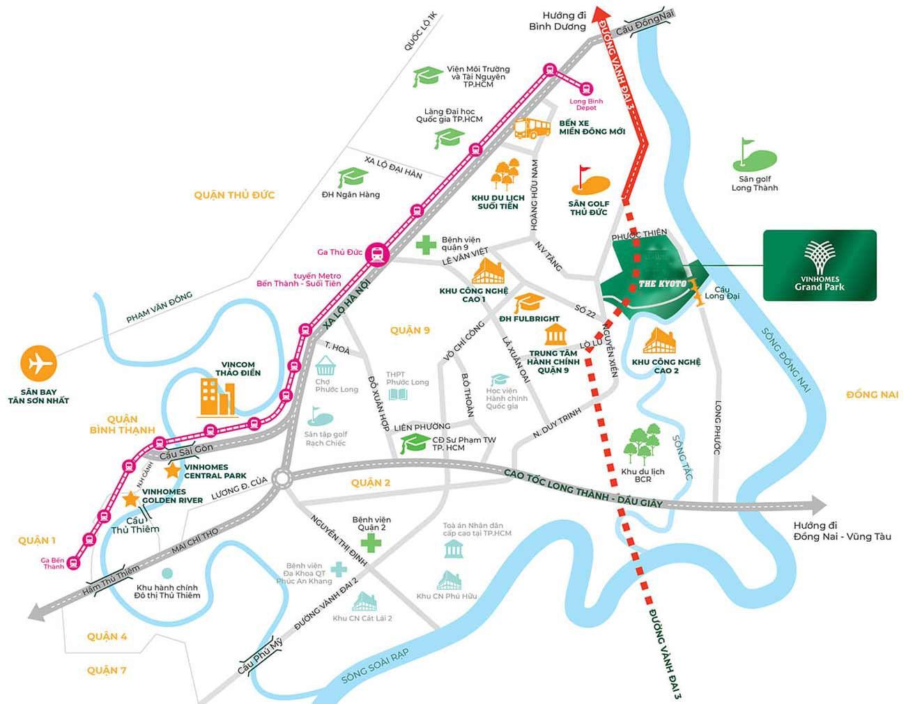 Vị trí địa chỉ dự án căn hộ chung cư The Kyoto Quận 9  chủ đầu tư Vingroup