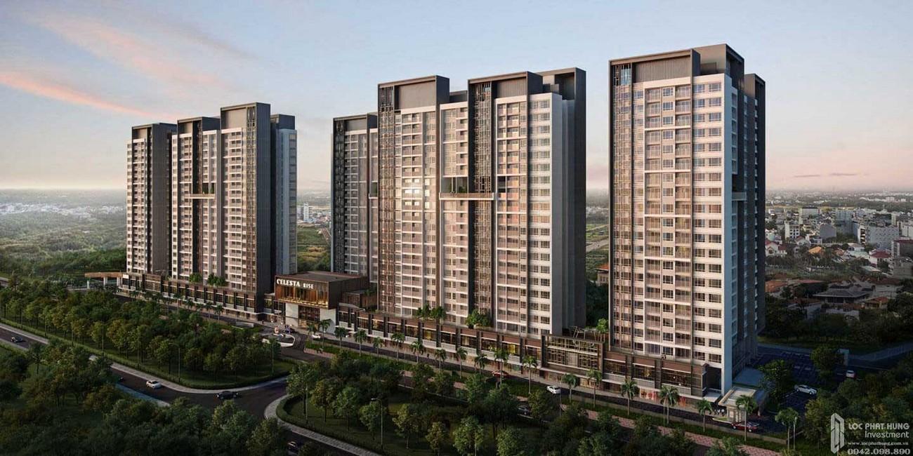Phối cảnh tổng thể dự án căn hộ chung cư Celesta Heights Nhà Bè Đường Nguyễn Hữu Thọ chủ đầu tư Keppel Land