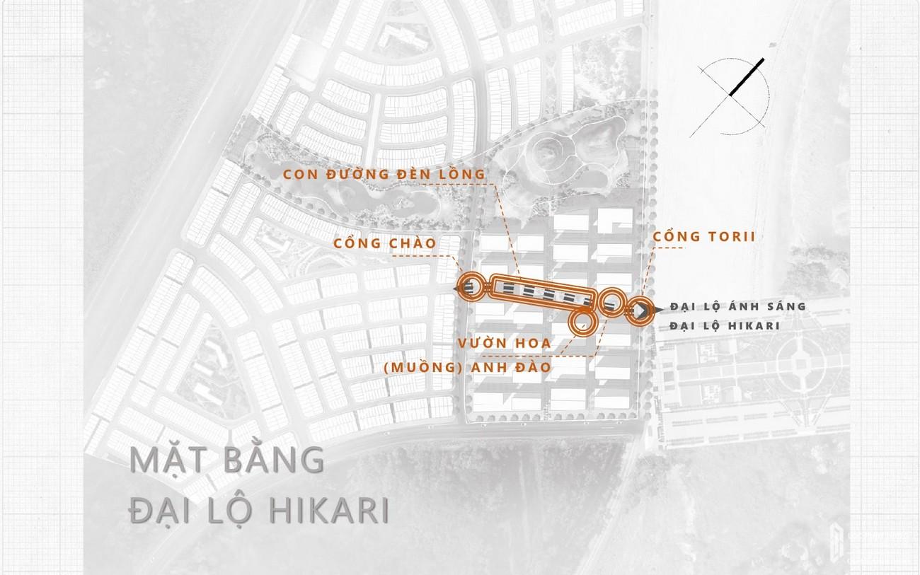 Mặt bằng đại lộ Hikari dự án Takashi Ocean Suite Kỳ Co chủ đầu tư Phát Đạt