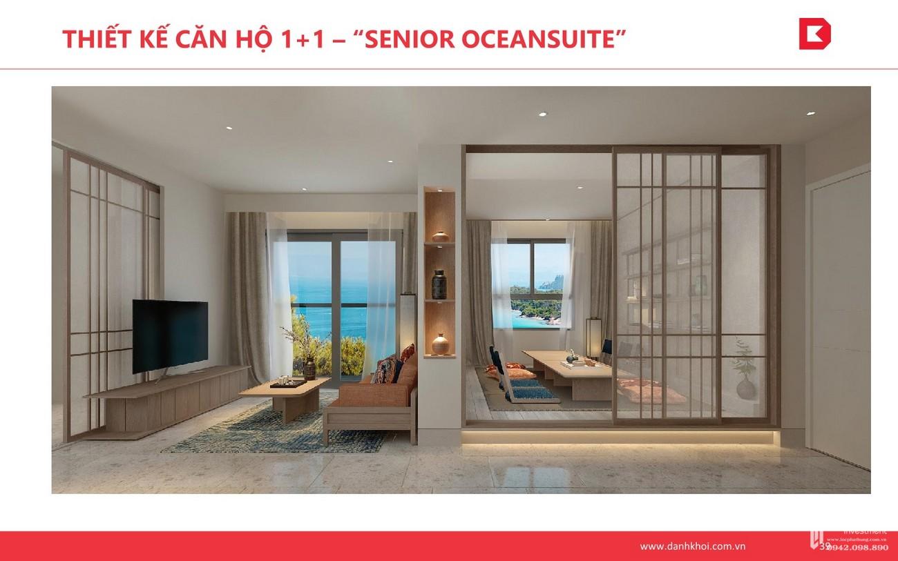 """Thiết kế căn hộ 1+1 -""""Senior OceanSuite"""" dự án Takashi Ocean Suite Kỳ Co chủ đầu tư Phát Đạt"""