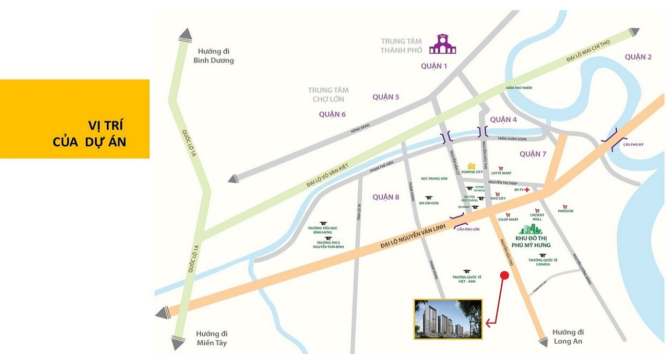 Vị trí địa chỉ dự án căn hộ chung cư Celesta Heights Nhà Bè Đường Nguyễn Hữu Thọ chủ đầu tư Keppel Land