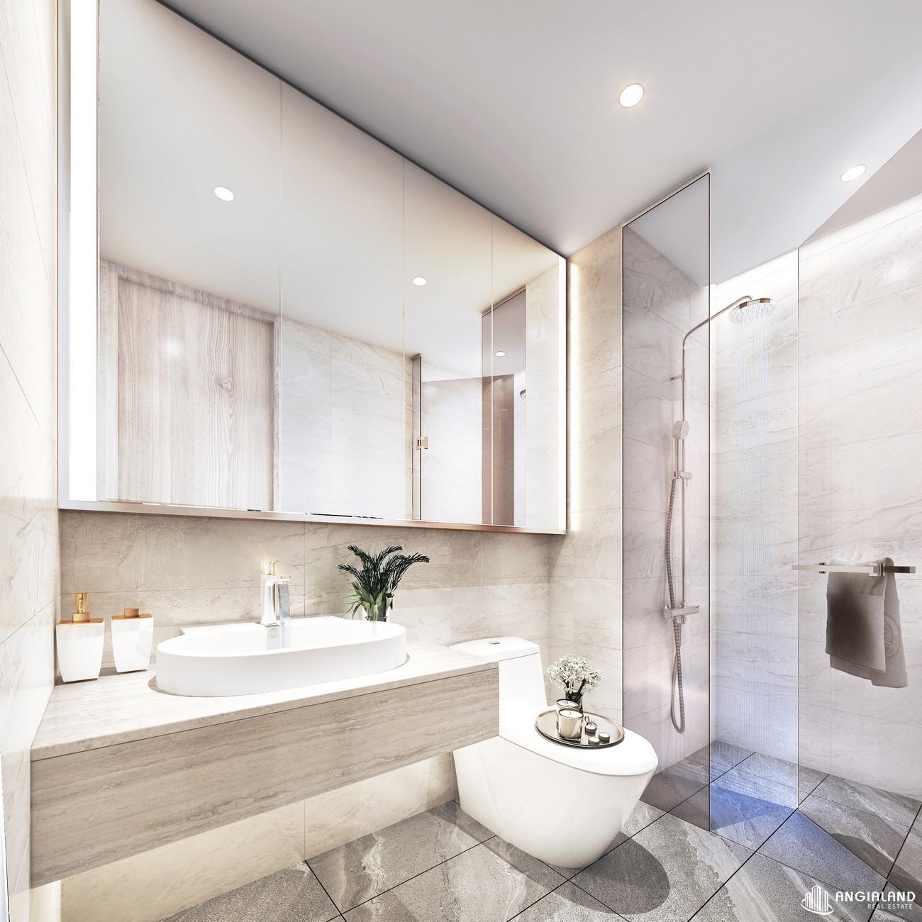 Thiết kế toilet phòng khách nhà mẫu Thảo Điền Green loại 2 phòng ngủ