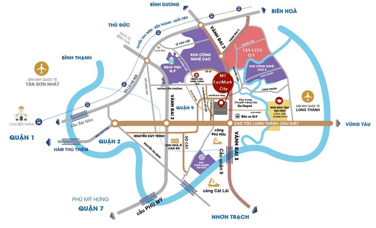 Vị trí địa chỉ chung cư MT EastMark City Quận 9