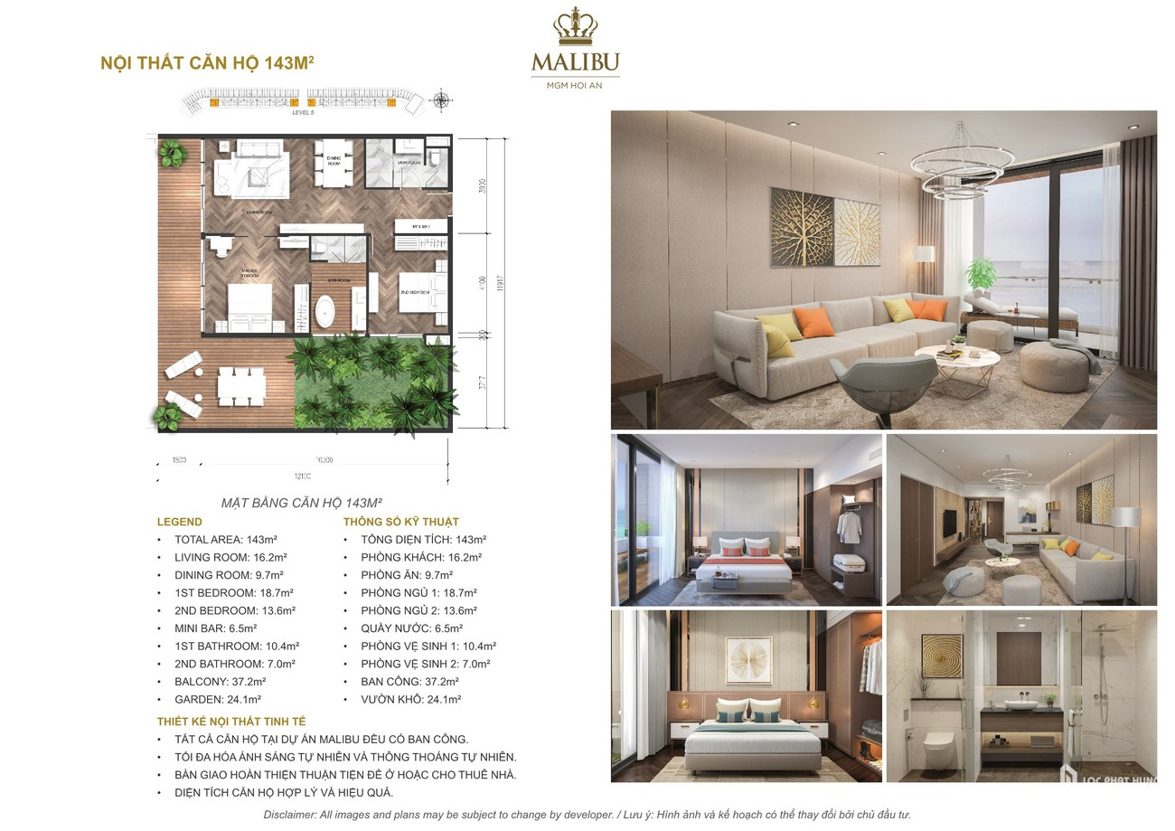 Nội thất cao cấp của các loại căn hộ dự án Malibu Hội An