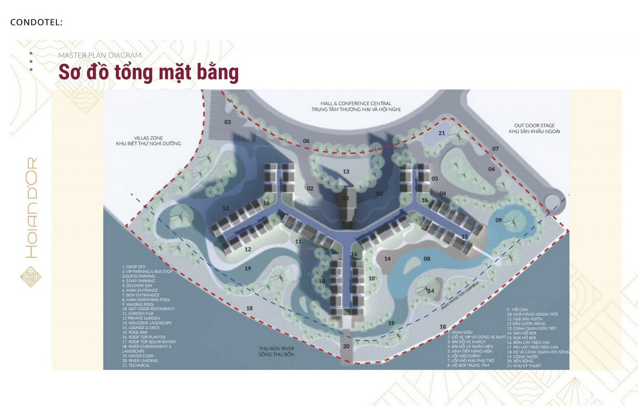 Mặt bằng dự án căn hộ nghĩ dưỡng Hội An D'or Hội An Đường Cẩm Nam chủ đầu tư Bamboo Capital