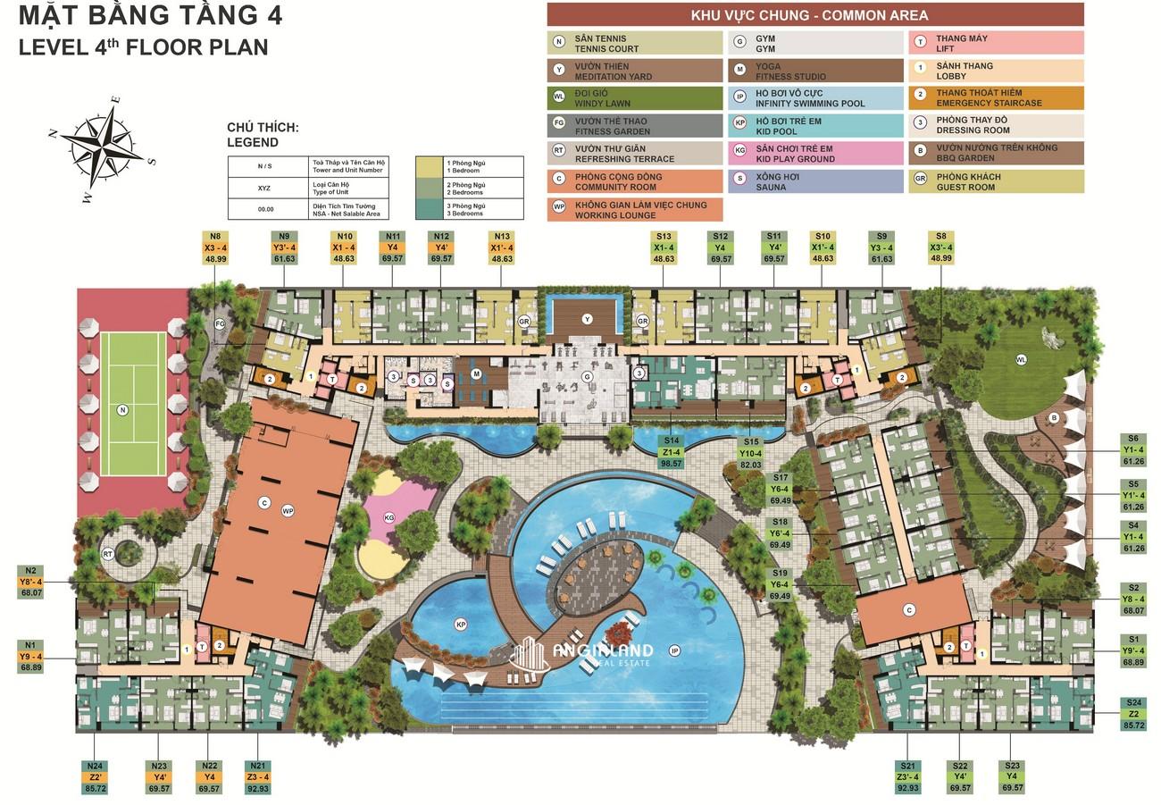 Mặt bằng tầng 4 dự án Midori Park The Glory Bình Dương