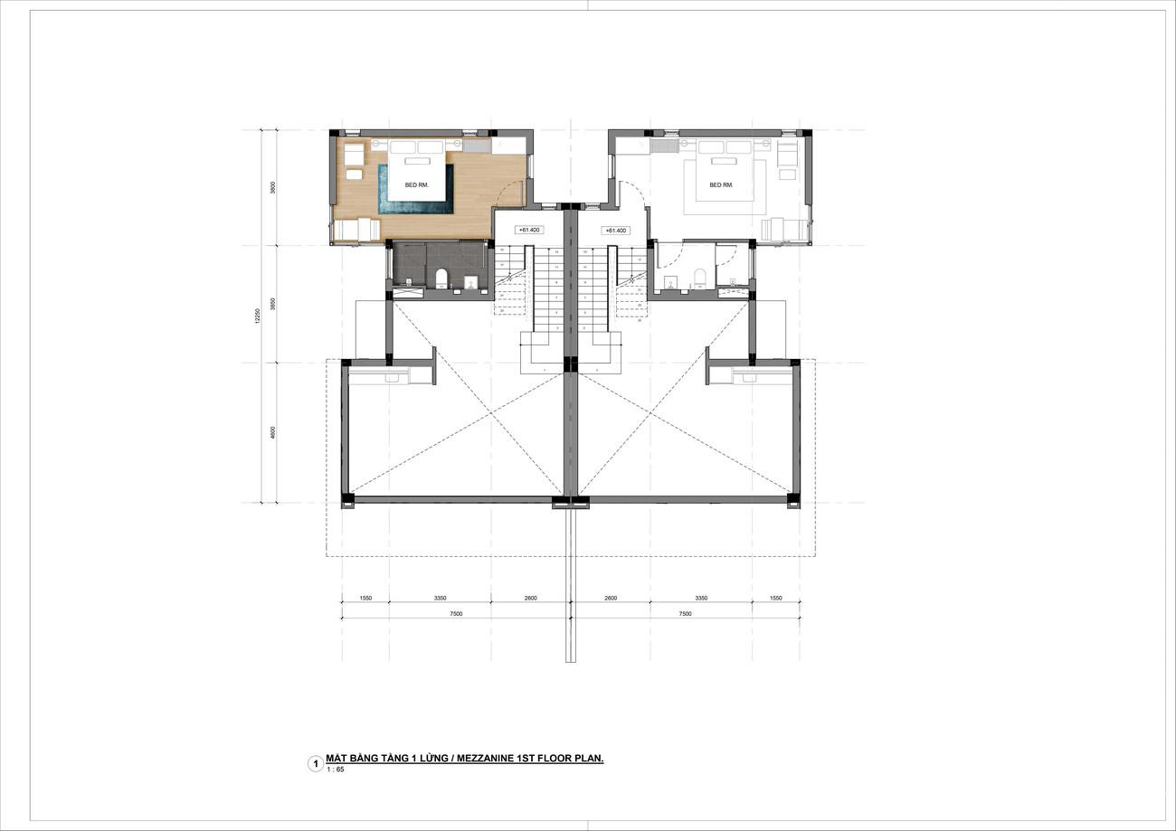 Thiết kế tầng lửng Villa song lập dự án nghỉ dưỡng Casa Marina Premium