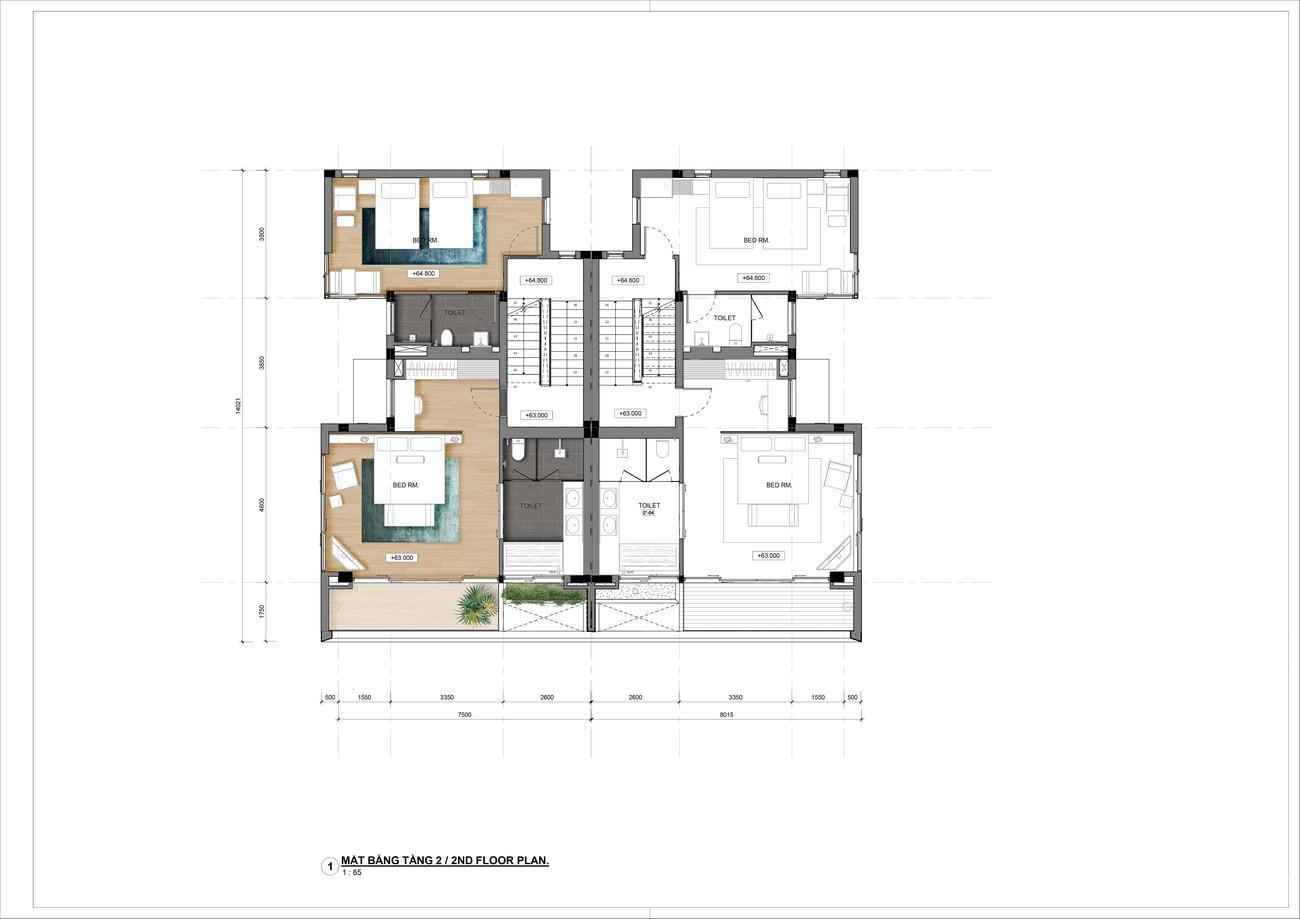 Thiết kế tầng 2 Villa song lập dự án nghỉ dưỡng Casa Marina Premium