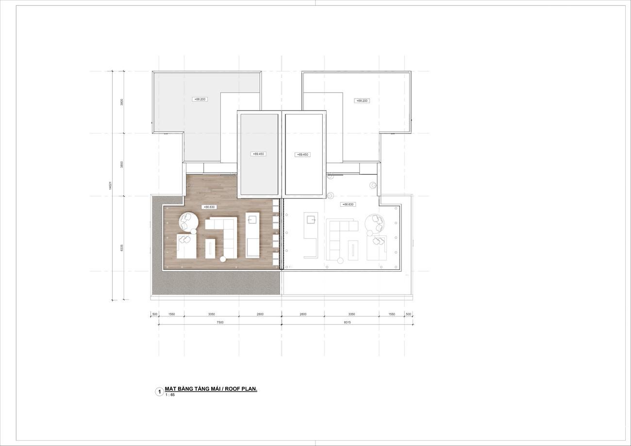 Thiết kế tầng mái Villa song lập dự án nghỉ dưỡng Casa Marina Premium