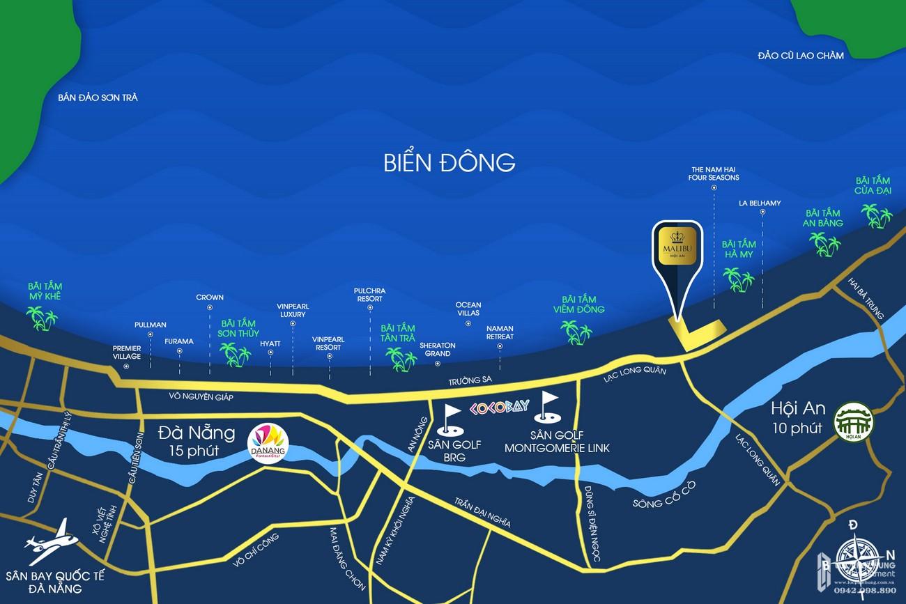 Vị trí chính xác dự án Malibu Resort & Villas Hội An