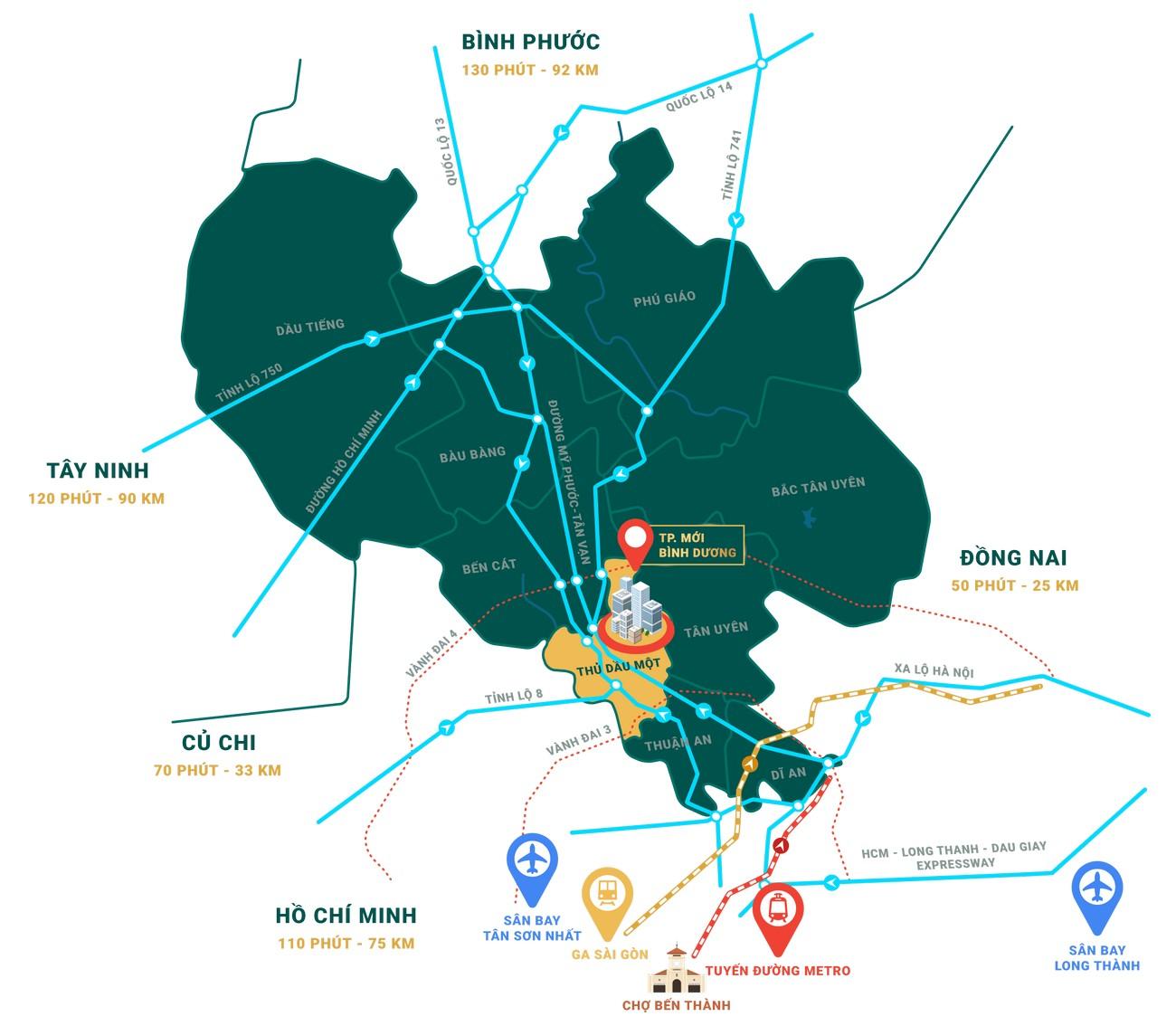 Vị trí địa chỉ dự án căn hộ chung cư Midori Park The Glory Thủ Dầu Một  chủ đầu tư Becamex Tokyu