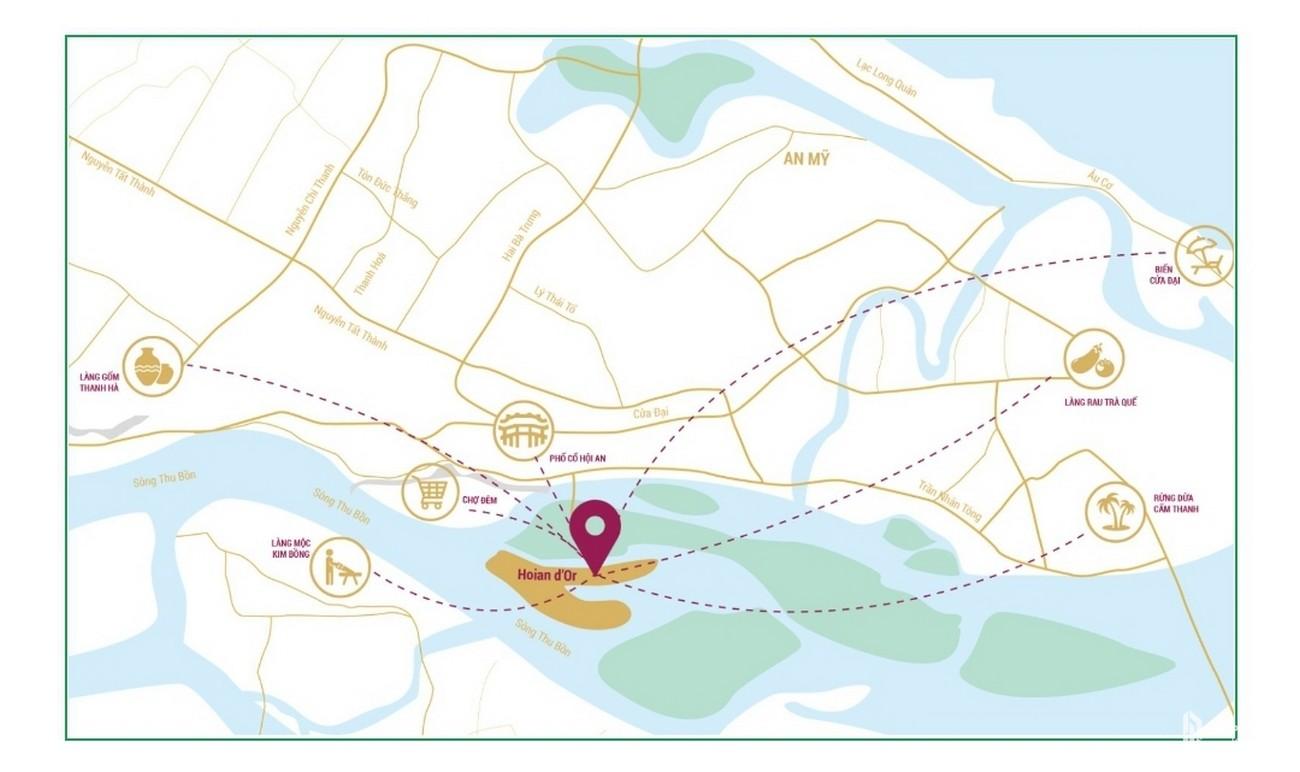 Vị trí địa chỉ dự án căn hộ nghĩ dưỡng Hội An D'or Hội An Đường Cẩm Nam chủ đầu tư Bamboo Capital