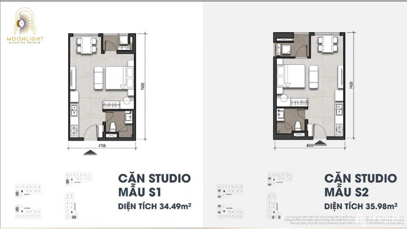 Thiết kế căn hộ chung cư Moonlight Centre Point Hưng Thịnh Quận Bình Tân - Loại Studio 35m2