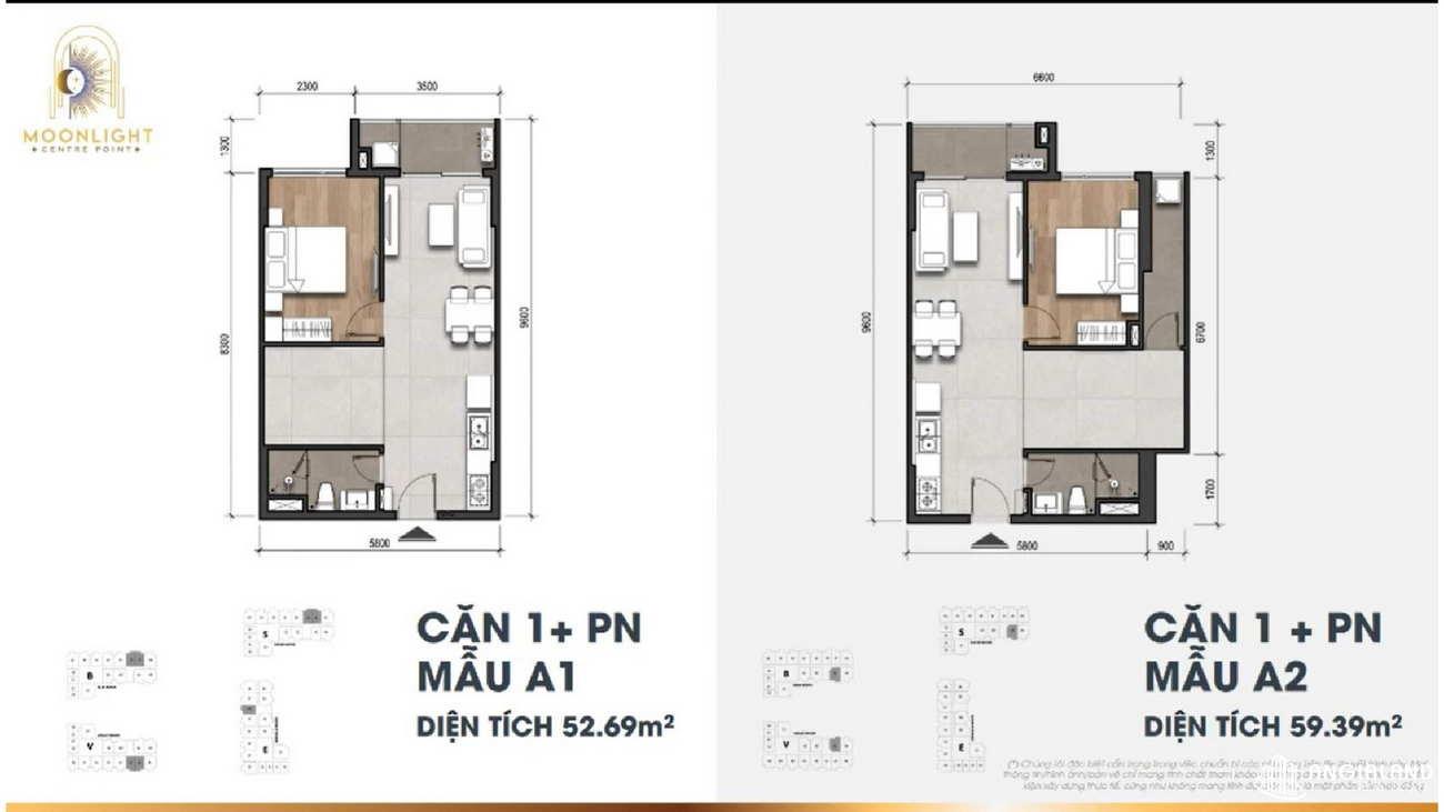 Thiết kế căn hộ chung cư Moonlight Centre Point Hưng Thịnh Quận Bình Tân - Loại 1 PN - 52m2, 59m2