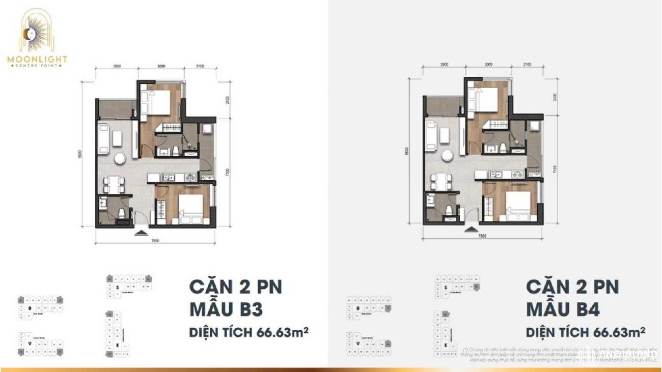 Thiết kế căn hộ chung cư Moonlight Centre Point Hưng Thịnh Quận Bình Tân - Loại 2 PN - 66m2