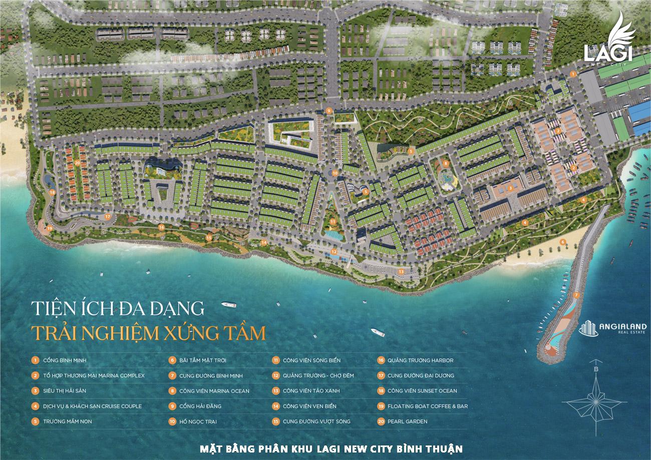 Mặt bằng sơ đồ phân lô dự án Lagi New City Bình Thuận