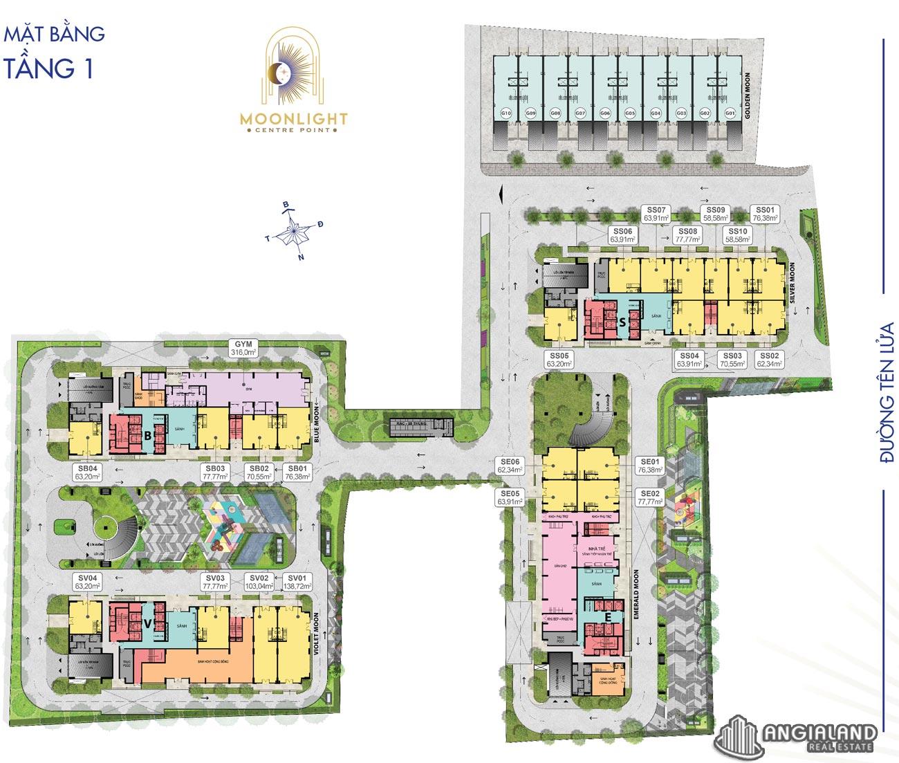 Mặt bằng tầng 01 căn hộ Moonlight Centre Point Hưng Thịnh Q.Bình Tân