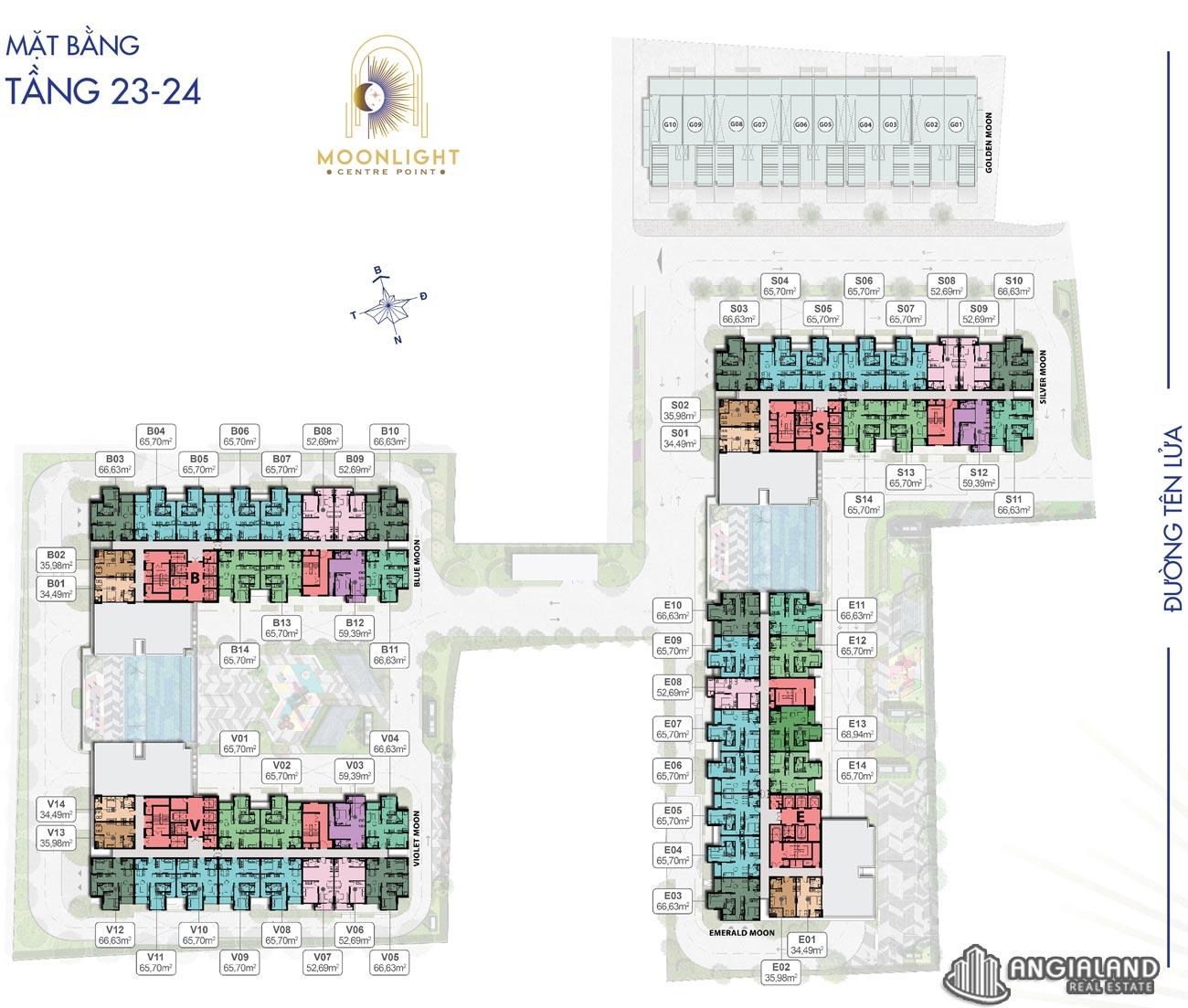 Mặt bằng tầng 23-24 căn hộ Moonlight Centre Point Hưng Thịnh Q.Bình Tân