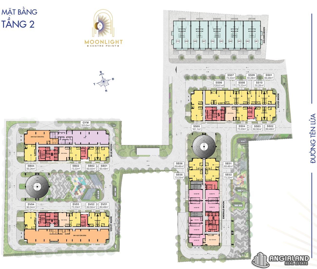 Mặt bằng tầng 02 căn hộ Moonlight Centre Point Hưng Thịnh Q.Bình Tân