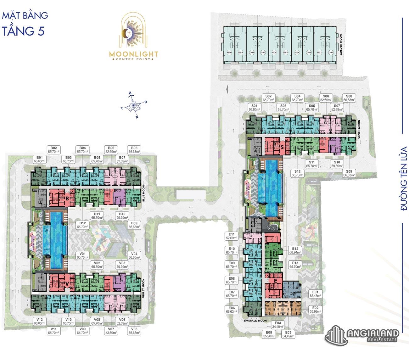 Mặt bằng tầng 5 căn hộ Moonlight Centre Point Hưng Thịnh Q.Bình Tân
