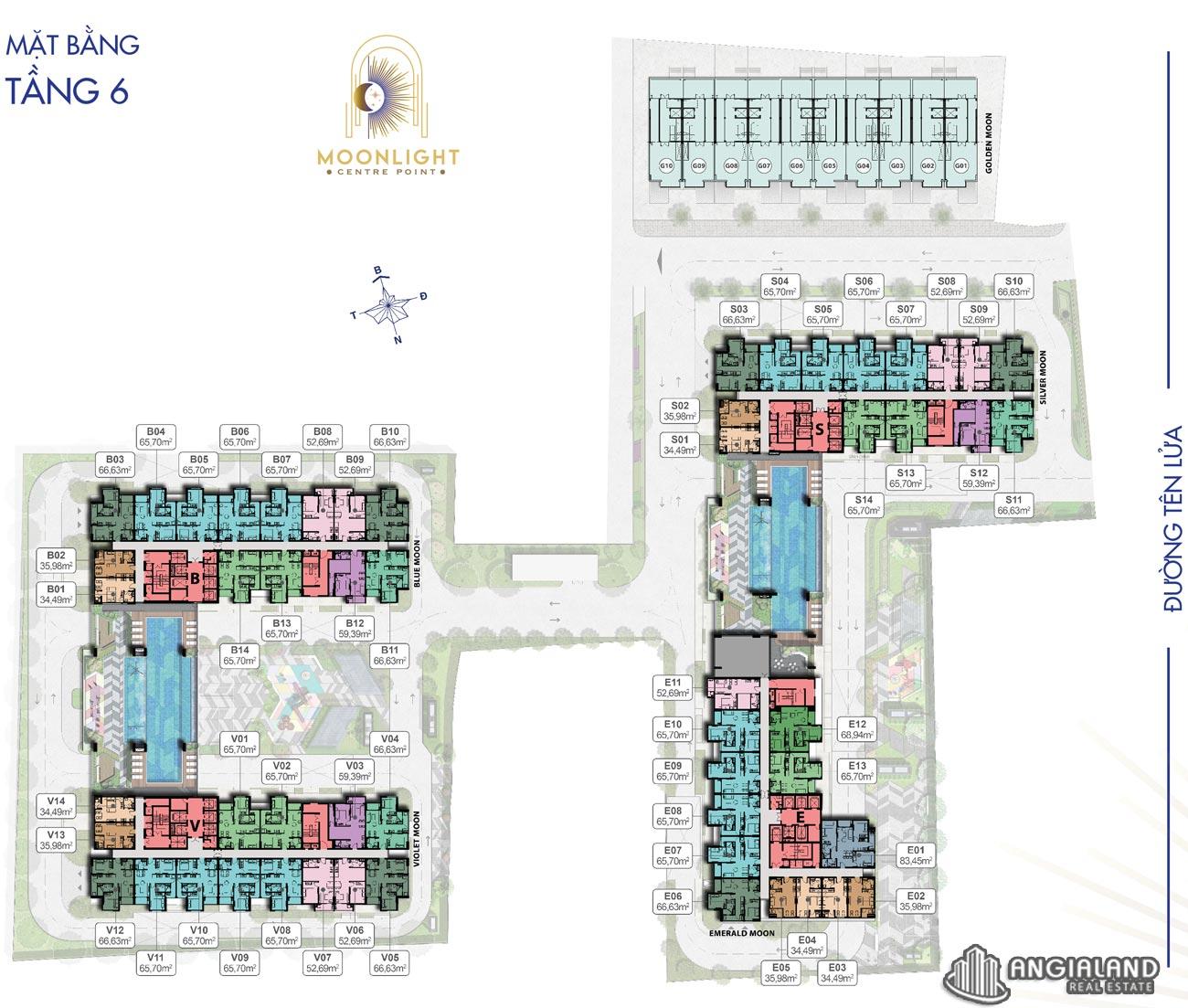 Mặt bằng tầng 6 căn hộ Moonlight Centre Point Hưng Thịnh Q.Bình Tân