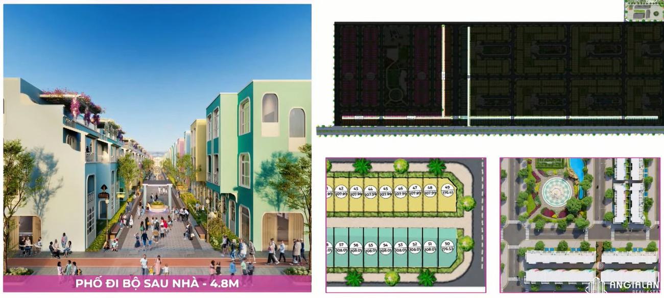 Phố đi bộ sau nhà rộng 4,8m tạo không gian thoáng cho mỗi nhà phố Para Sol Cam Ranh