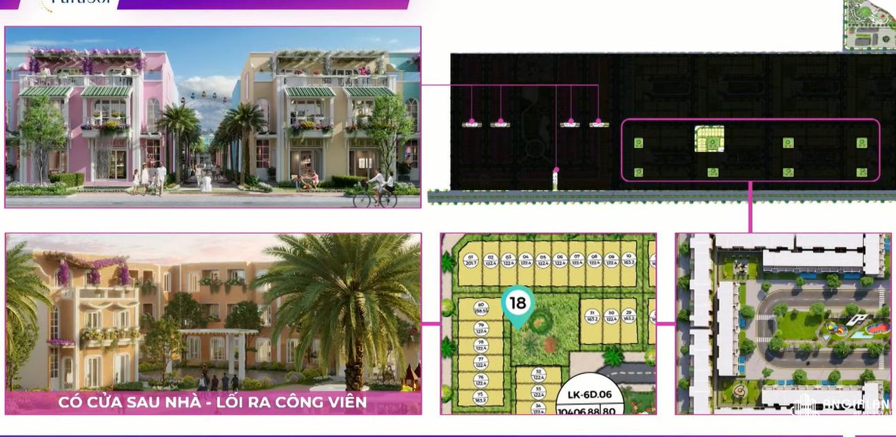 Các căn nhà phố được thiết kế có lối ra sân vườn chung của từng cụm Para Sol Cam Ranh